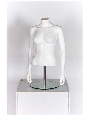 Gloss White Headless Torso Mannequin with Arms for Female Clothing Display