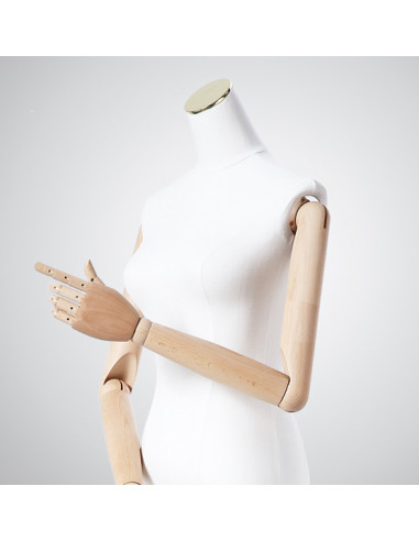 Tailored Busts Mannequins Tailors Dummy with Articulated Wooden Arms and Metal Stand (Headless)