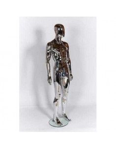 Chrome Male Ghost Sport Mannequin with Egg Head for Clothing Display