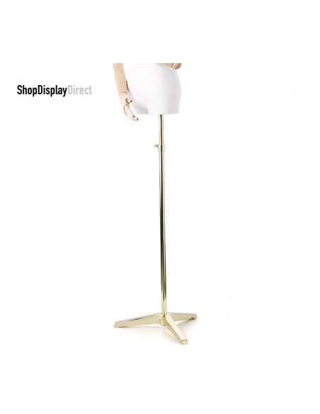 Tailored Busts Mannequin Tailors Dummy with Articulated Wooden Arms and Metal Stand - Male  - White - Egg Head