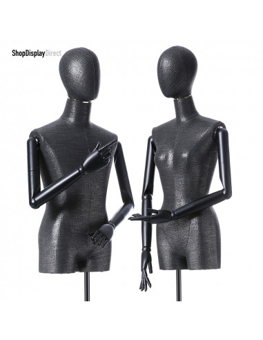 Articulated Wooden Arms Male Mannequin Tailors Dummy with Metal Stand - Black - EggHead