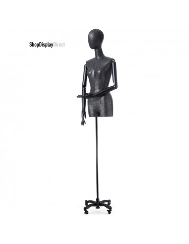 Female Adjustable Dressmakers Mannequin Tailors Dummy Tailored with Articulated Wooden Arms and Metal Stand - Black - Egg Head