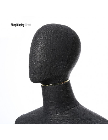 Male Adjustable Mannequin Tailors Dummy with Articulated Wooden Arms and Metal Stand Black Headless